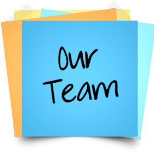 "Stack of Post-it Notes with the words, ""Our Team"""