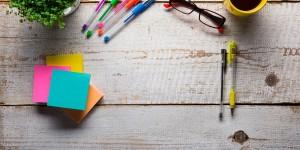 Pens, Plant, Sticky Notes